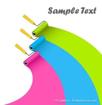 Rodillos de pintura de colores curvas