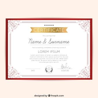 Rojo diploma marco ornamental