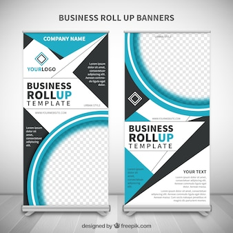 Roll up con formas abstractas azules