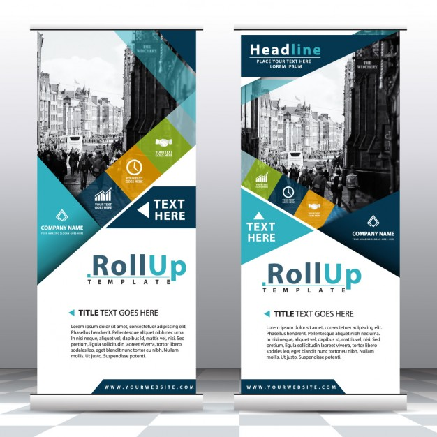 Roll up con formas geométricas azules