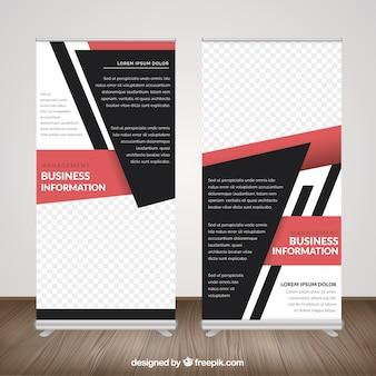 Roll up de negocios con formas geométricas y detalles rosa