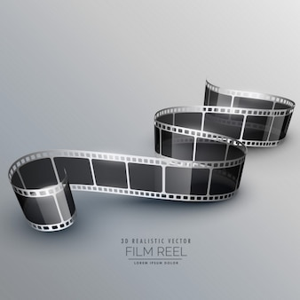 Rollo de película 3d realista sobre un fondo gris