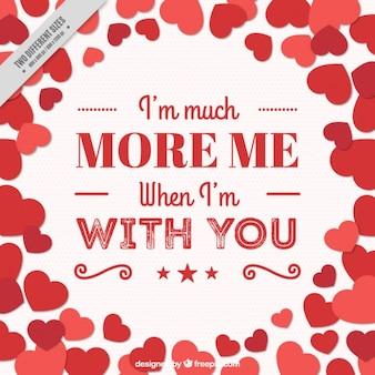 Romántico mensaje con corazones