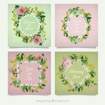 Románticos marcos florales