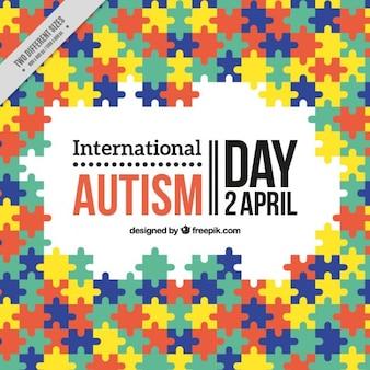 Rompecabezas de colores de fondo Día Internacional del Autismo