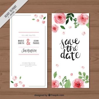 Rosas de la acuarela de la invitación de la boda