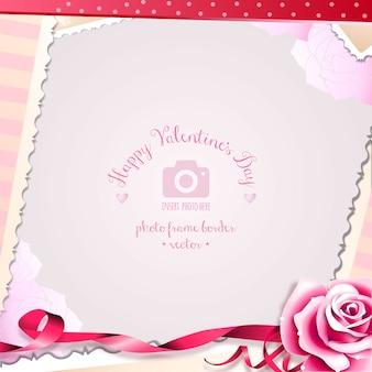 Rose Día de San Valentín y romántica del marco foto de los corazones