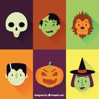 Rostros de personajes de Halloween