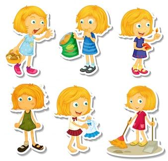 Rubia chica haciendo diferentes actividades ilustración