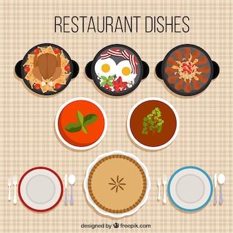 Sabrosos platos de restaurante en diseño plano