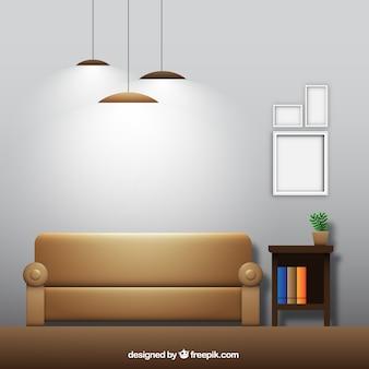 Sala de estar con sofá y marcos en diseño realista