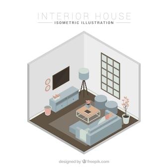 Sala de estar con ventana y sofá azul en diseño isométrico