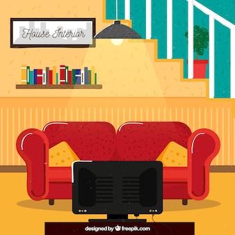 Sala de estar de casa con diseño plano