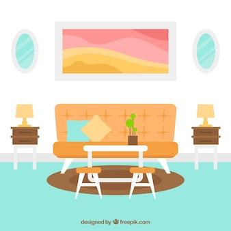 Sala de estar moderna en diseño plano