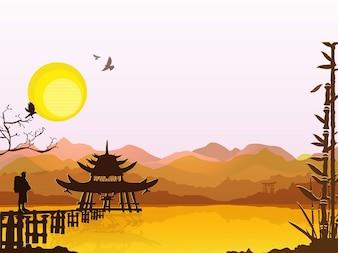 Salida del sol en el este templo asiático