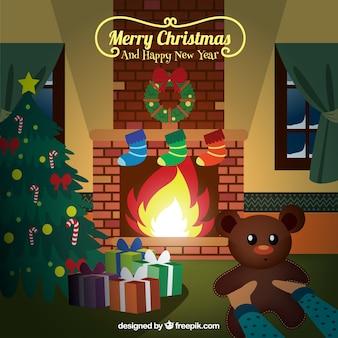 Salón bonito de navidad con un osito de peluche