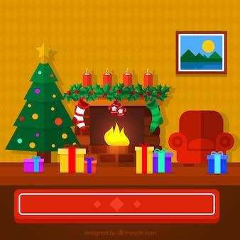 Salón bonito de navidad en diseño plano