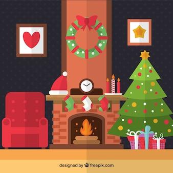 Salón de navidad en diseño plano
