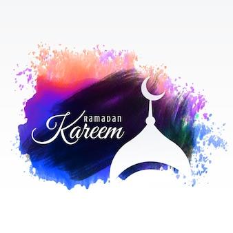 Saludos de ramadan kareem con fondo de acuarela