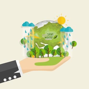Salva el mundo planeta en mano con lluvia