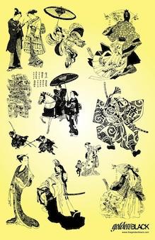 samurai geisha ilustraciones