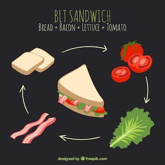 Sandwich delicioso dibujado a mano