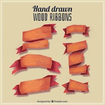 Seis cintas de madera  pintadas a mano