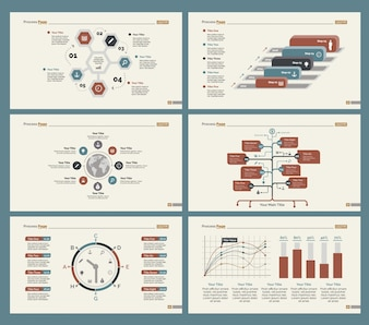 Seis diagramas de flujo de trabajo Conjunto de plantillas de diapositivas