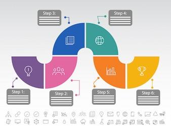 Seis pasos, Línea de tiempo Diseño de Infografía con iconos establecidos, en versión en blanco y negro.