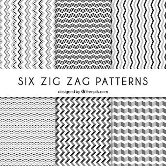 Seis patrones de zig.zag