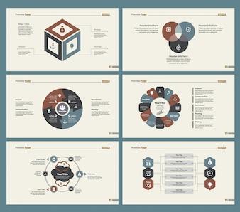 Seis plantillas de diapositivas de flujo de trabajo establecidas