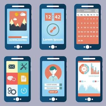 Seis vistas de aplicación móvil