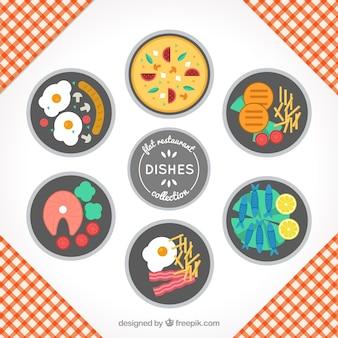 Selección de seis platos de restaurante
