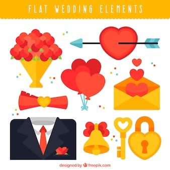 Selección bonita de elementos de boda en diseño plano