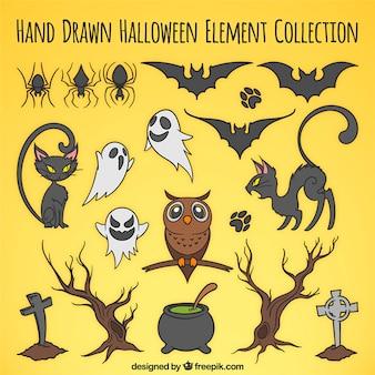 Selección de artículos dibujados a mano para halloween