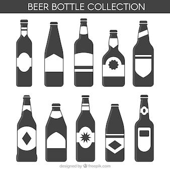 Selección de botellas de cerveza en estilo plano
