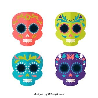 Selección de calaveras mexicanas en diseño plano