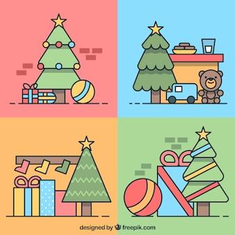 Selección de cuatro árboles de navidad con regalos