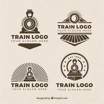 Selección de cuatro logos de trenes en estilo retro