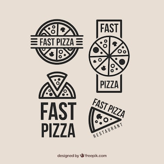 Selección de cuatro logotipos para pizza