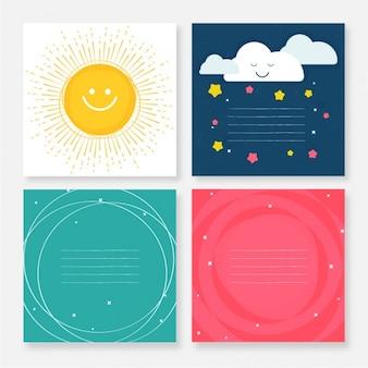 Selección de cuatro tarjetas de felicitación planas