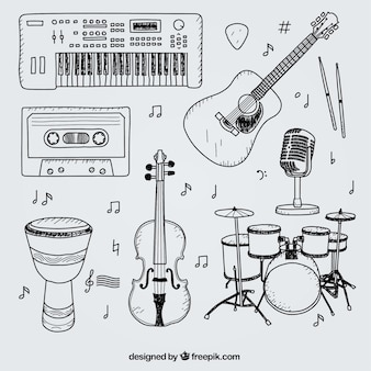 Selección de elementos dibujados a mano para un estudio de música