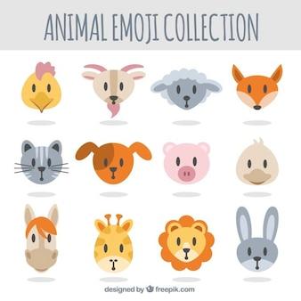 Selección de emoticonos de animales en diseño plano