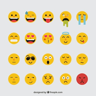 Selección de emoticonos planos fantásticos