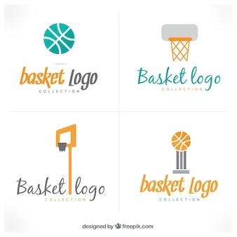 Selección de logos con accesorios de baloncesto