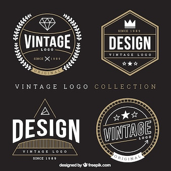 Selección de logotipos vintage con detalles dorados