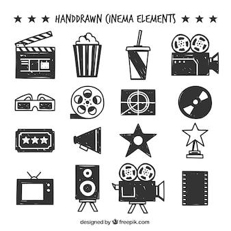 Selección de objetos de cine dibujados a mano