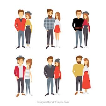 Selección de parejas hipsters coloridas sonriendo