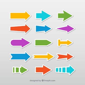 Selección de pegatinas de flechas coloridas