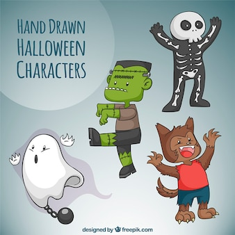 Selección de personajes dibujados a mano con disfraces de halloween